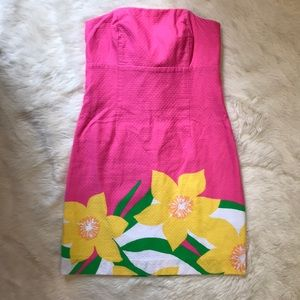 Lilly Pulitzer strapless tie back dress Size 0
